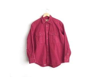 SALE // Size L/XL // CABELA'S Chamois Shirt // Maroon - Heavyweight Long Sleeve Button-Up Shirt - Vintage '90s Men's.