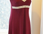 Ready to Ship Organic Lingerie Soft Nightgown Sleepwear or Full Slip Eco Women's Medium Maroon Red with Cream Lace Birthday Gift