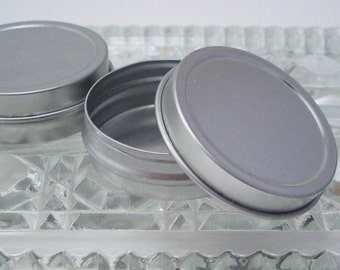 Empty Half Ounce Tins with Lids and Shrink Bands - Balm Sample Containers - Flat Candy Tins - Pill Box - Bead Storage - Metal Tin Boxes