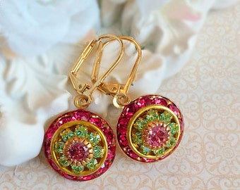 Art Deco Jewelry - Pink Earrings - Victorian Earrings - Crystal Cluster Earrings - AURORA Pink