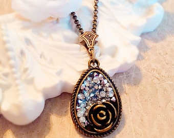Best Gift for Girlfriend - Victorian Necklace - Rose Necklace - Inspired Druzy Necklace - FESTIVAL Rose