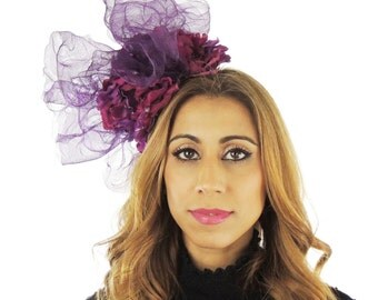 Plum Feridhoo Fascinator Hat for Kentucky Derby Ascot