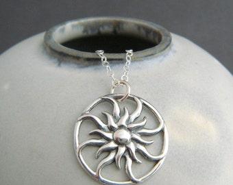 "sterling silver sun necklace small sunburst pendant sunbeam charm sunshine solar boho bohemian jewelry rustic yoga everyday gift 3/4"""