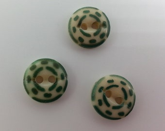 Vintage Green Stencil China Buttons 1800s to early 1900s Collectible China Stencil Buttons