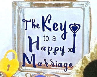 """Wedding Guest Book Wish Block - Glass Block with """"The Key to a Happy Marriage"""" - Personalized for Free - Paper Locks in Coordinating Colors"""