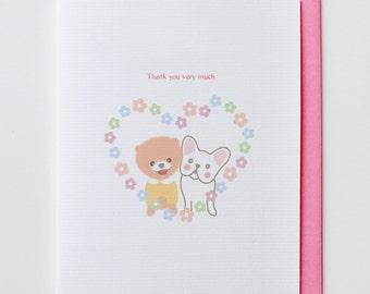 Shiba with Heart Thank You Card - French Bulldog, Funny, Unique, Cute, Kawaii, Boo, Chiwawa, Dog, Animal Card, Friendship, Love