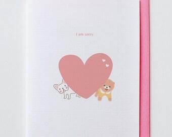 Sorry from my Heart Apology Card - Animal Card, Funny, French Bulldog, Unique, Cute, Kawaii, Sympathy, Heart, Dog, Shiba, Boo, Chiwawa
