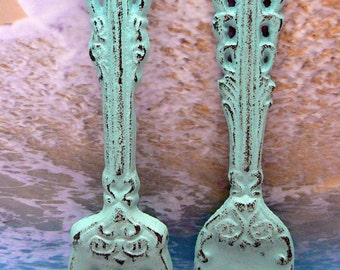 Fork Spoon Set Wall Decor Shabby Chic Beach Blue Home Decor Wall Art
