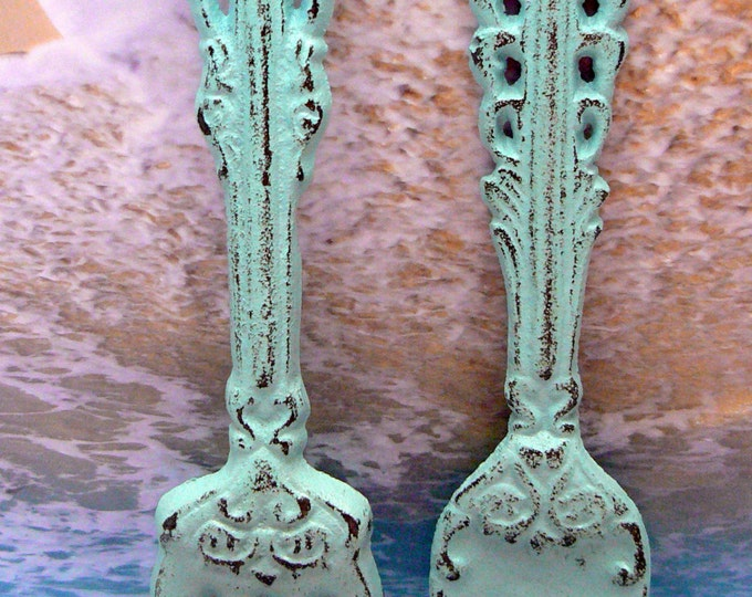 Fork Spoon Set Wall Decor Shabby Style Chic Beachy Cottage Chic Blue Weathered Distressed Kitchen Home Decor Oversized Country Chic Wall Art