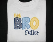 Custom Personalized Applique Big, Middle, or Little BROTHER and NAME Bodysuit or Shirt - Navy, Lt Blue, and Yellow Mini Gingham