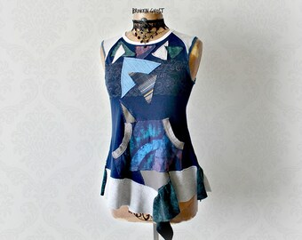 Women's Upcycled T-Shirt Blue Hippie Shirt Bourbon Street Reconstruct Clothes Art To Wear Music Festival Top Sleeveless Tee Small 'KATIE'