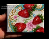 Itty Bitty Bits of Pretty...Summer Strawberries on Vintage Floral Plate Mini Painting in OIL by Lara ACEO 3x4 Miniature