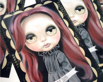 5 x vampire goth Blythe Doll teen witch Postcards