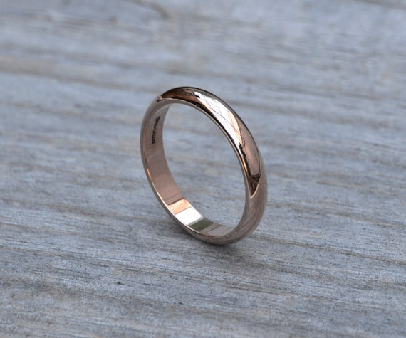 D shape wedding band, rose gold Wedding Ring, 3mm or 4mm wide stackable ring