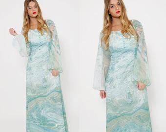 Vintage 70s PSYCHEDELIC Maxi Dress DON LUIS de Espana Dress Aqua Swirl Watercolor Print Dress Puff Sleeve Hippie Dress