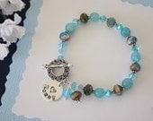 Personalized Mom Bracelet, Light Blue, Aquamarine, Agate Gemstone, Silver Bracelet, Czech Glass, Nana, Mom, Grandma, Monogram Charm