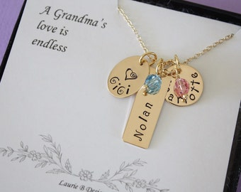 Personalized Grandma Necklace Gold, Gold Personalized Necklace, Mom Necklace, Name Charm Gold, Bar Necklace, Name Tag, Rose Gold, Card