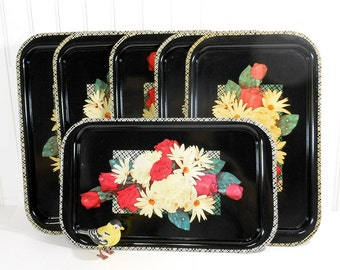 6 Vintage Metal Floral Rose  Serving Trays | Mid Century Food Trays | Dinner Tray | Buffet Hostess Set | Shabby Cottage Decor | Black Yellow
