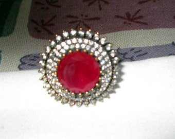 RING - BLING  - RUBIES  - Clear Czs - Massive - Two tone - Sterling Silver - size 9  red121