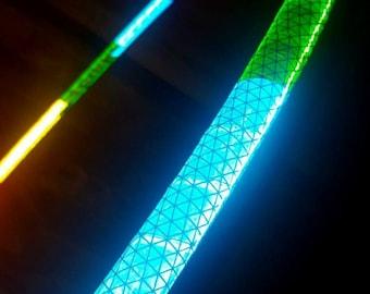 "NeW! - Rainbow Warrior 'NiteBrite' REFLECTIVE Hoop  //  Polypro OR 1/2"" Advanced.  Free Grip Option."