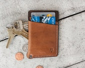 """Brown Minimal Hand Dyed Leather Wallet  // """"slim"""" by fullgive in java"""