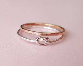 Silver Knot Ring + Rose Gold Filled Ring thin sterling silver stacking ring love knot thumb ring midi ring pinky ring knuckle ring