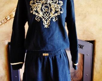 St John Knits, Designer sports wear, 80s Shorts set, 1980's sweat suit, size S / M