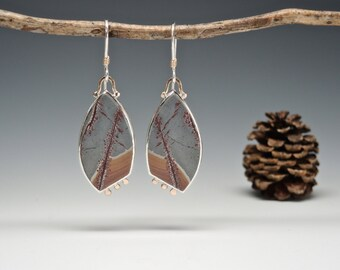 Sonoran Dendritic Rhyolite in Grey and Terra Cotta, Natural Stone Drop Earrings, Handcrafted in Silver and Gold