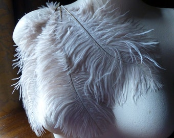 "3 Ostrich Drabs  8"" - 10"" Feathers in Champagne Beige for Bridal, Headbands, Flapper, Masks, Reenactment, Costume Design"