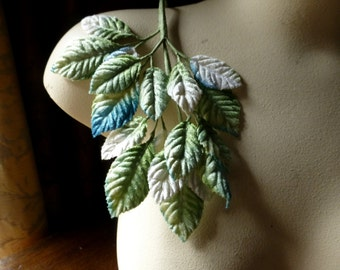 Velvet Leaves for Millinery in Aqua & Green Ombre for Bridal, Hats, Headbands, Crafts ML 87