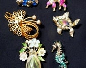 Vintage Scatter Pins/Brooches Lot of 6 Costume Jewelry Rhinestones, Pink Poodle, Fish, Bunny, Sea Horse, Flowers