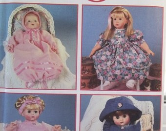 Baby Doll Clothes Pattern Simplicity Crafts 9286 Sewing Pattern, Doll Wardrobe, Doll Outfits, Panties, Long Dress, Bonnet, Headband UNCUT