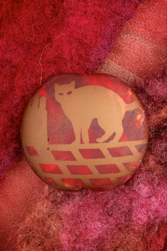 """SRA Handmade Lampwork Beads """"Cat on a Hot Roof"""" Lentil Cat Bead Sandblasted Glass and Copper Lustre"""