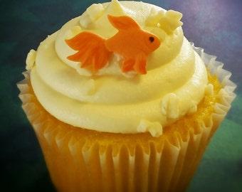 Edible Fondant Goldfish-Fondant Fish-Cake/Cupcake Toppers-Set of 12 Edible Goldfish Fish