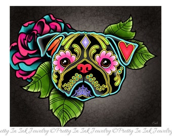 "Black Pug - Day of the Dead Sugar Skull Dog 8"" x 10"" Art Print"