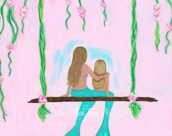 """Mermaid Art Print SISTERS Mermaid Painting Mermaid Wall Art Mermaid Wall Decor Print Seascape """"Two Sisters Hangout"""" Leslie Allen Fine Art"""