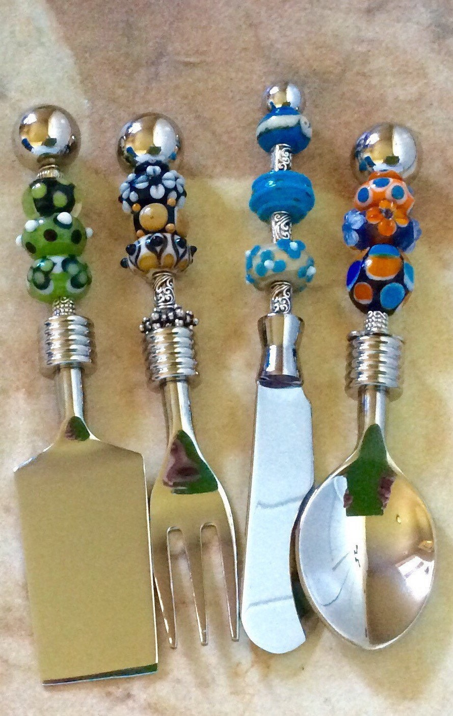 Canape serving set party utensils beaded by zoeybeadedbeauties for Canape cocktail spoons