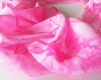 Pink Infinity Scarf, Hand Painted Pink Silk Infinity Scarf, Bright Pink Scarf, Silk Scarf, Summer Scarf, Gift For Her, Large Silk Scarf
