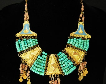 Vintage Egyptian revival necklace Turquoise deco 1920's Egypt Cleopatra jewelry HEAD enamel Collar Queen NEFERTITI