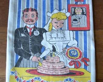 Vintage Wedding Bride & Groom Cutting Cake Dish Towel
