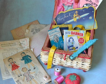 Vintage Wicker Sewing Basket Filled with Supplies Notions Patterns