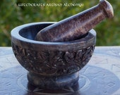 FLOWER GARDEN Carved Soapstone Mortar & Pestle - Crafting Herb Spice Incense Grinding Preparation Tool, Kitchen Witchery, Witchcraft