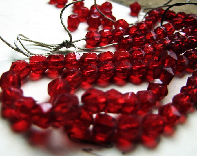 antique ruby glass beads - 4mm faceted English rough cut - approx. 130 beads (20 grams)