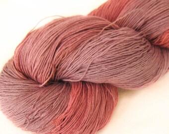 Hand dyed silk-superwash wool yarn, thread, lace weight yarn, crochet Yarn, knitting yarn, weaving yarn, hand painted yarn, mauve