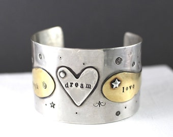 Heart Cuff, Love Cuff, Angel Wing Cuff, Sterling Cuff Bracelet, Star Bracelet, Heart Bracelet, Dream Cuff, Valentines Cuff, Mixed Metal