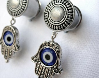 """Pair of Antique Silver Plugs with Hamsa Hand & Blue Evil Eye Charms - 6g, 4g, 2g, 0g, 00g, 7/16"""", 1/2"""", 9/16"""", 5/8"""", 3/4"""" - Unique Gauges"""