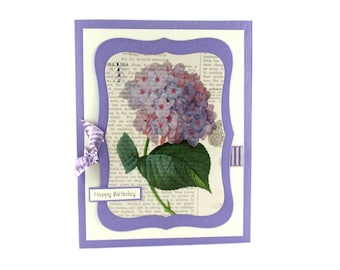 Birthday cards, hydrangea flowers, feminine birthday card, happy birthday card, personalized cards, cards for mom, wife, sister, daughter