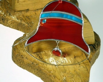 Red and aqua blue Bell Stained glass suncatcher, Christmas tree ornament and window decoration