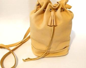 Honey Gold Deerskin Bucket Bag Whip-Stitched Shoulder Bag