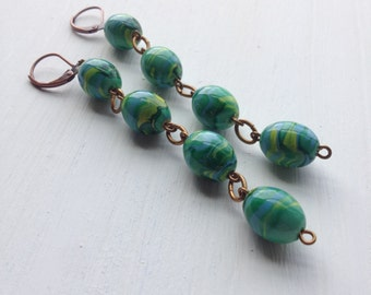 lazybones (cooler heads) - earrings - vintage chain and copper